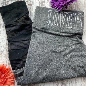 PINK VS Grey Yoga Leggings Black Accent M